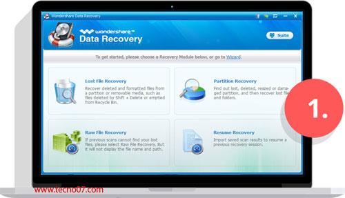 واجهة استرجاع الصور wondershare data recovery