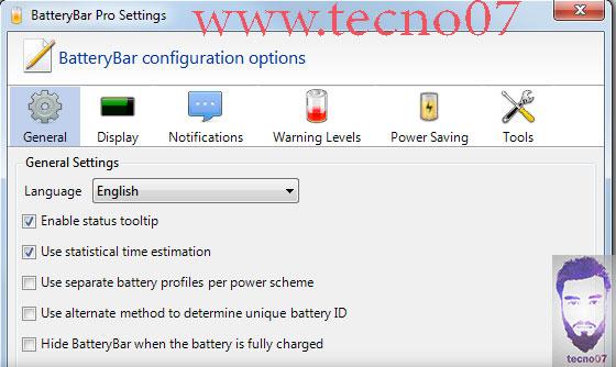 برنامج BatteryBar لمعرفة حالة البطارية