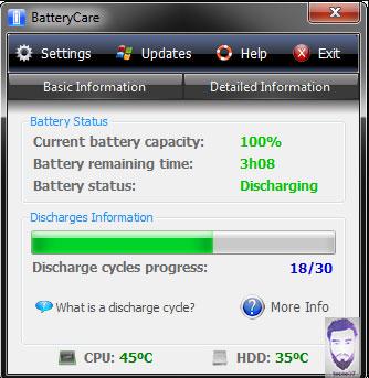 برنامج BatteryCare لمعرفة حالة البطارية