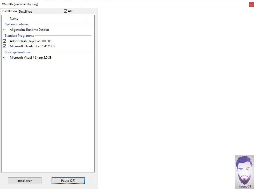 واجهة برنامج winpkg لأختيار المدعمات المراد تنصيبها