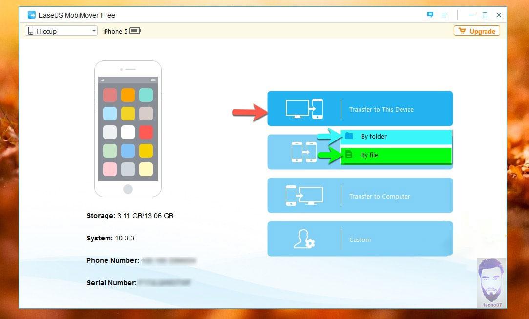 نقل الملفات من الأيفون بأستخدام Mobi Mover