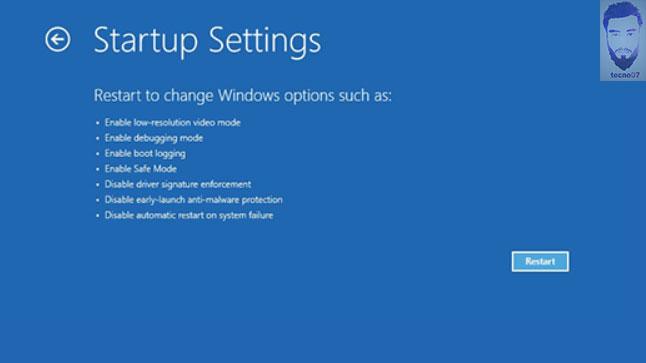 الشاشة الزرقاء في لوحة التشغيل المتقدم